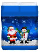 Santa And Frosty Painting Image With Canvased Texture Duvet Cover