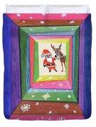 Santa And His Reindeer Duvet Cover