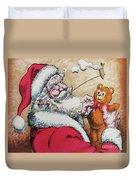 Santa And Teddy Duvet Cover