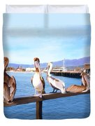 Santa Barbara Pelicans Duvet Cover