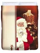 Santa Claus At Open Christmas Door Duvet Cover