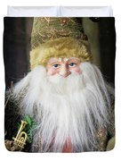 Santa Claus Doll In Green Suit With Forest Background. Duvet Cover