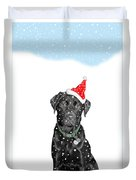Santa Dog In The Snow Duvet Cover