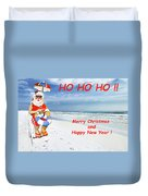 Santa Merry Christmas And Happy New Year Card Duvet Cover