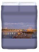 Santa Monica Pacific Park Pier Skyline Panoramic Duvet Cover