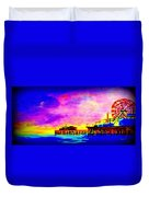 Santa Monica Pier A Night Duvet Cover