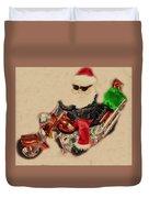 Santa On Motorcycle  Duvet Cover