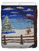 Santa On Skis Duvet Cover