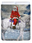 Santa Rides To Town Duvet Cover