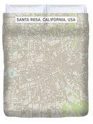 Santa Rosa California Us City Street Map Duvet Cover