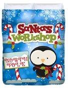 Santa's Workshop Penguin Duvet Cover