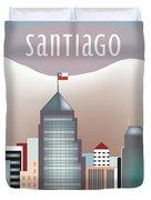 Santiago Chile Horizontal Skyline Duvet Cover