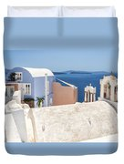 Santorini Blue House In Oia Duvet Cover