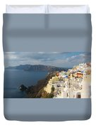 Santorini In The Afternoon Sun Duvet Cover