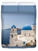 Santorini Oia Churches Stitched Panorama Duvet Cover