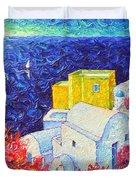 Santorini Oia Colors Modern Impressionist Impasto Palette Knife Oil Painting By Ana Maria Edulescu Duvet Cover