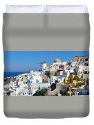 Santorini Oia Duvet Cover