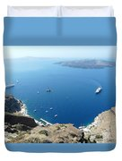 Santorini Old Port At Fira Duvet Cover