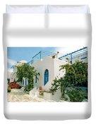 Santorini Villa Duvet Cover