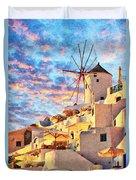 Santorini Windmill At Oia Digital Painting Duvet Cover