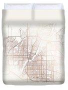 Saskatoon Street Map Colorful Copper Modern Minimalist Duvet Cover