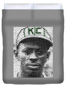 Satchel Paige Kc Monarchs African American Mosaic Duvet Cover by Paul Van Scott