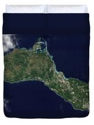 Satellite View Of The Island Of Guam Duvet Cover