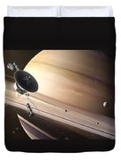 Saturn Flyby Duvet Cover