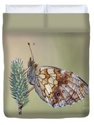 Satyr Butterfly On Blade Of Grass Duvet Cover