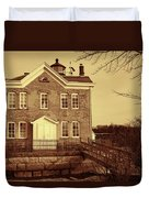 Saugerties Lighthouse Sepia Duvet Cover