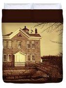 Saugerties Lighthouse Sepia Duvet Cover