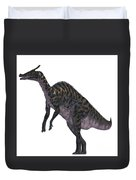 Saurolophus Dinosaur On White Duvet Cover