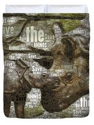 Save The Rhinos Duvet Cover