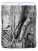 Sax French Horn And Trumpet Duvet Cover