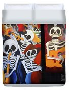 Sax Guitar Music Day Of The Dead  Duvet Cover