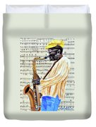 Sax Man With A Yellow Hat Duvet Cover