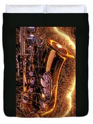 Sax With Sparks Duvet Cover by Garry Gay