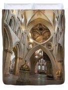 Saxon Baptismal Font Wells Cathedral, Somerset Uk Duvet Cover