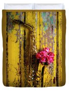 Saxophone And Roses On Wall Duvet Cover