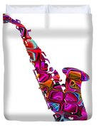 Saxophone With Shadow White Background Duvet Cover