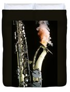 Saxophone With Smoke Duvet Cover by Garry Gay
