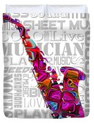 Saxophone With Word Background Duvet Cover