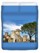 Scaligero Castle At The Entrence Of The Sirmione Medieval Town  Duvet Cover