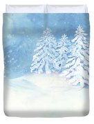 Scandinavian Winter Snowy Trees Hygge Duvet Cover
