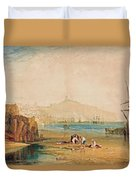 Scarborough Town And Castle Morning Boys Catching Crabs Duvet Cover