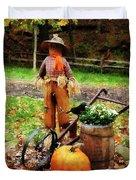 Scarecrow And Pumpkin Duvet Cover