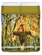 scarecrow in field at Stanhope Waterloo Village Duvet Cover