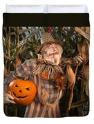 Scarecrow With A Carved Pumpkin  In A Corn Field Duvet Cover
