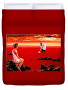 Scarlet Evening In December Duvet Cover