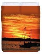 Scarlet Sunrise On Provincetown Pier 1  Duvet Cover